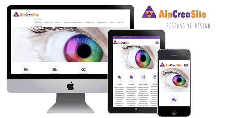 Capture d'écran du site AinCreaSite illustrant le caracère responsive du site