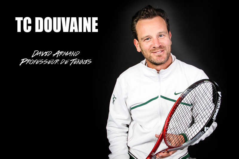 Publicité pour le professeur de tennis du club de Douvaine, David Armand