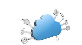 Métaphore du couteau suisse avec un nuage représetant Internet et toutes ses application (musique, information, email, téléphone...)