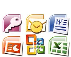 image illustrant les différents logiciels de la suite Office, Word, excel, Outlook etc.