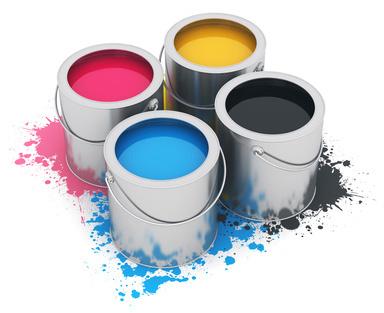 Image de pots de peintures jaune magenta cyan et noir utilisés pour l'imprimerie